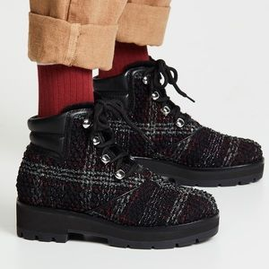 3.1 Phillip Lim Dylan Checkered Tweed Hiking Boots